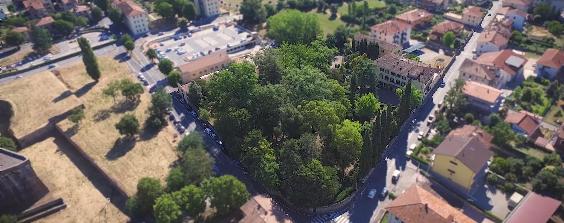 Vista aerea della Villa Giovagnoli in vendita a Sansepolcro